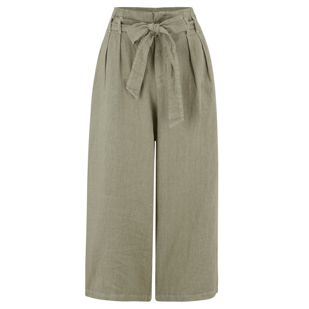 ca013ae29b 120% Lino Belted Trousers in Military Green