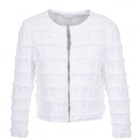 Cropped Fringe Jacket in White