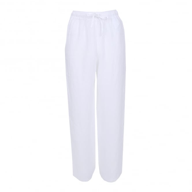 120% Lino Drawstring Pant in White