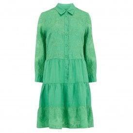 1da3cd4530 Embroidered Linen Dress in Fern Green