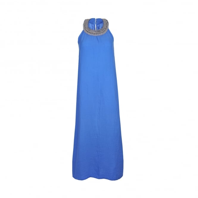 120% Lino Jewel Embellished Maxi Dress in Bluebell