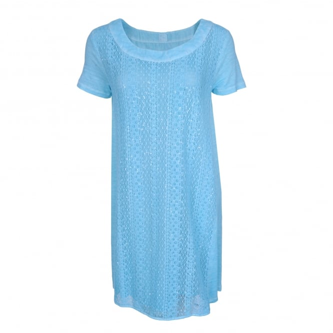 120% Lino Lace Front Dress in Turquoise