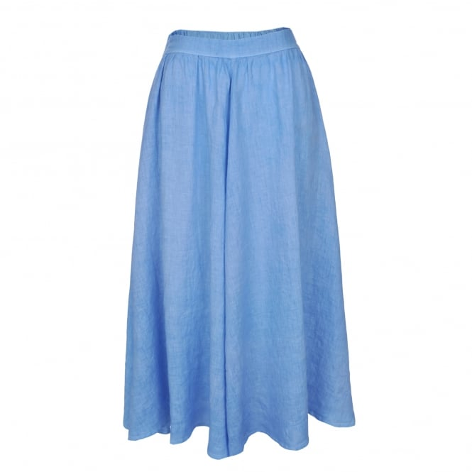 120% Lino Midi Skirt in Azure Blue