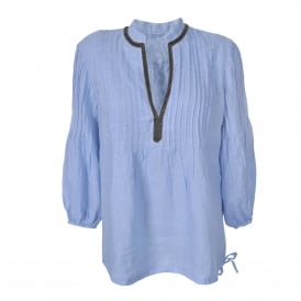 Pintuck Shirt with Embellishment in Cielo