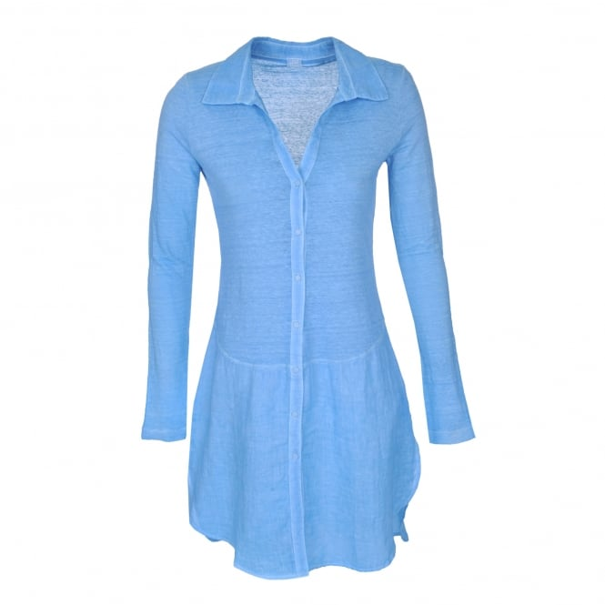 120% Lino Shirt Dress in Azure Blue