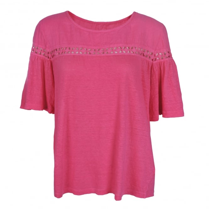 120% Lino Short Sleeve Cut-Out Detail Top in Camelia Rose