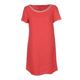 Short Sleeve Embellished Dress in Grenadine