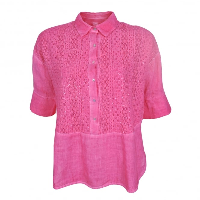 120% Lino Short Sleeve Lace Detail Shirt