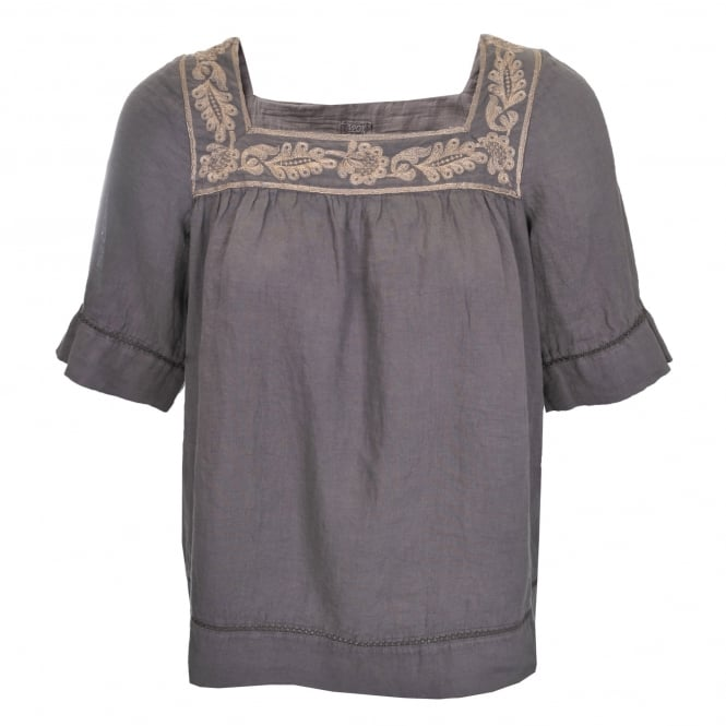 120% Lino Short Sleeve Shirt in Taupe