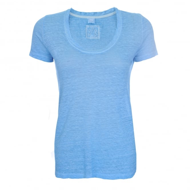 120% Lino Short Sleeve T-Shirt in Azure Blue