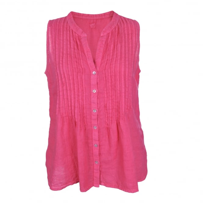 120% Lino Sleeveless Pleat Detail Shirt in Camelia Rose
