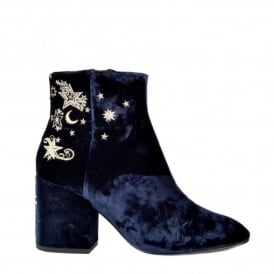 Elixir Nadine Blue Velvet Boot with Gold Star