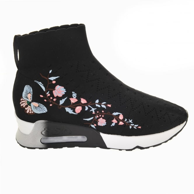 Ash Lotus Knit Trainers in Black