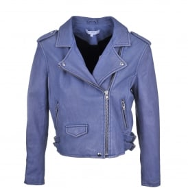 Ashville Leather Biker Jacket in Lavender