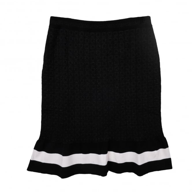 Boutique Moschino Black and White Knit Skirt