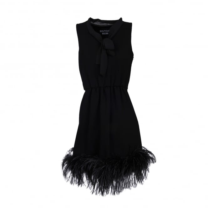 Boutique Moschino Black Dress with Feather Trim