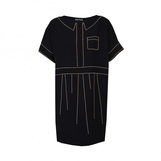 Boutique Moschino Black Dress with Gold Stud Detail