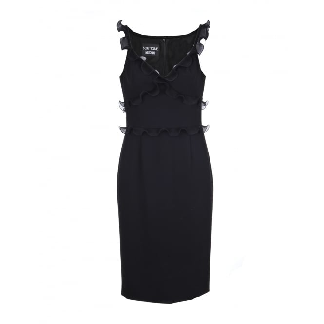 Boutique Moschino Black Frill Embellished Dress