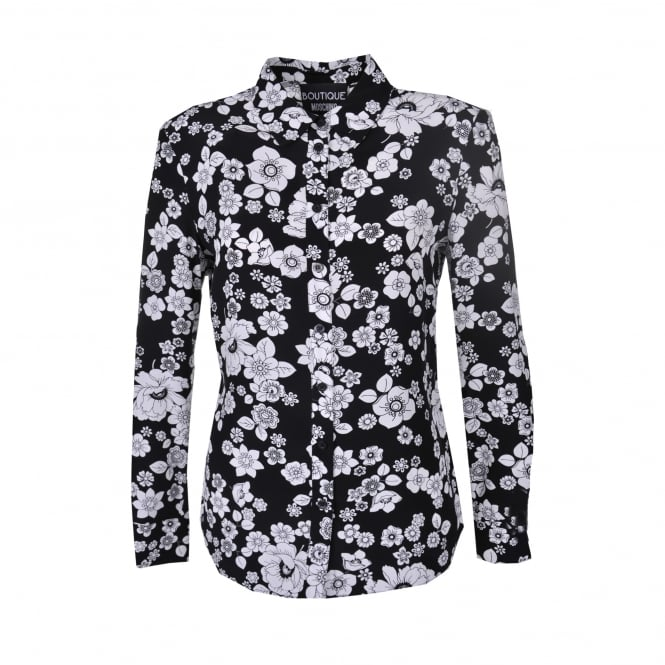Boutique Moschino Black Shirt with White Flower Print