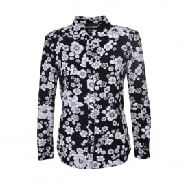 Black Shirt with White Flower Print