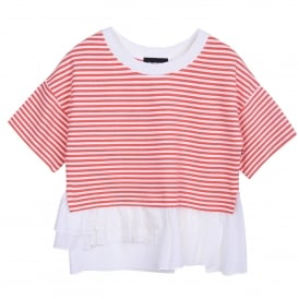 Boxy Frill Embellished Tee in Coral/White