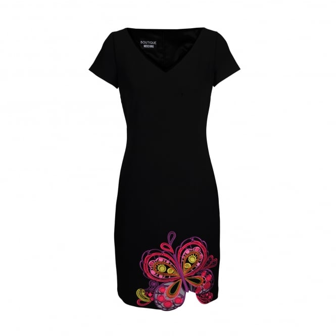 Boutique Moschino Butterfly Embellished Black Dress