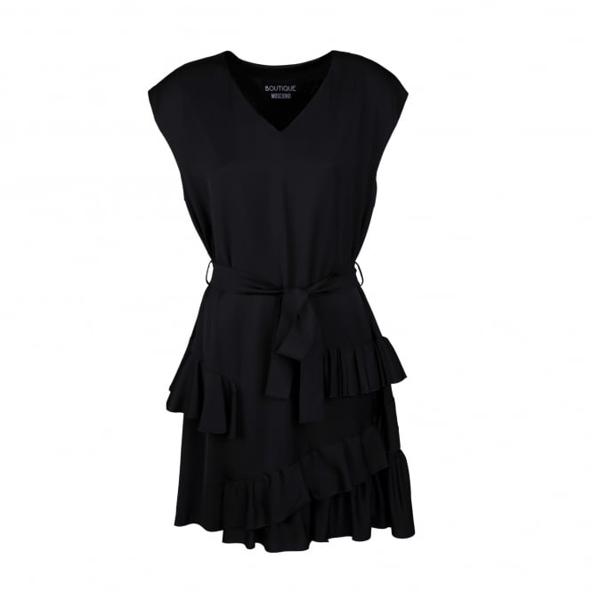 Boutique Moschino Dress with Belted Waist and Frill Detail