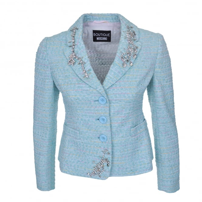 Boutique Moschino Embellished Tweed Jacket in Blue