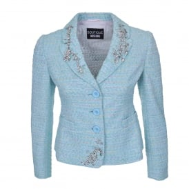 Embellished Tweed Jacket in Blue
