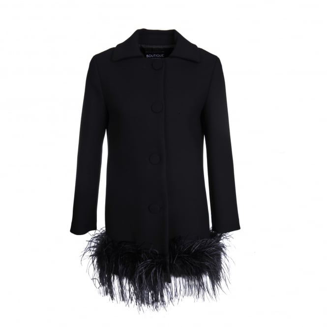 Boutique Moschino Feather Trim Black Coat
