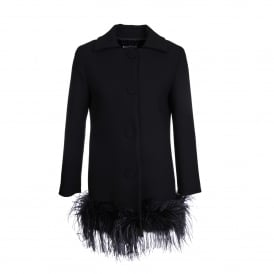 Feather Trim Black Coat