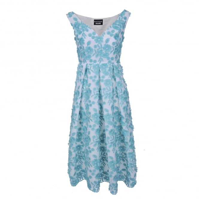 Boutique Moschino Flower Embroidered Midi Dress