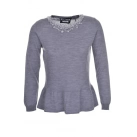 Boutique Moschino Grey Beaded Sweater