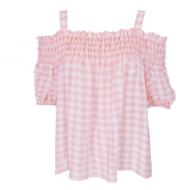 Boutique Moschino Off The Shoulder Gingham Top