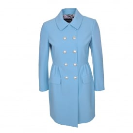 Pearl Button Coat in Blue