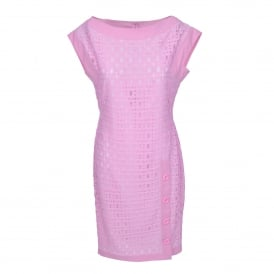 Pink Cotton Dress with Buttons