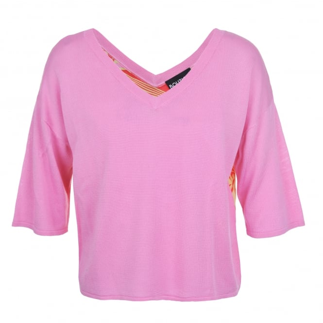 Boutique Moschino Pink V-Neck Print Back Sweater