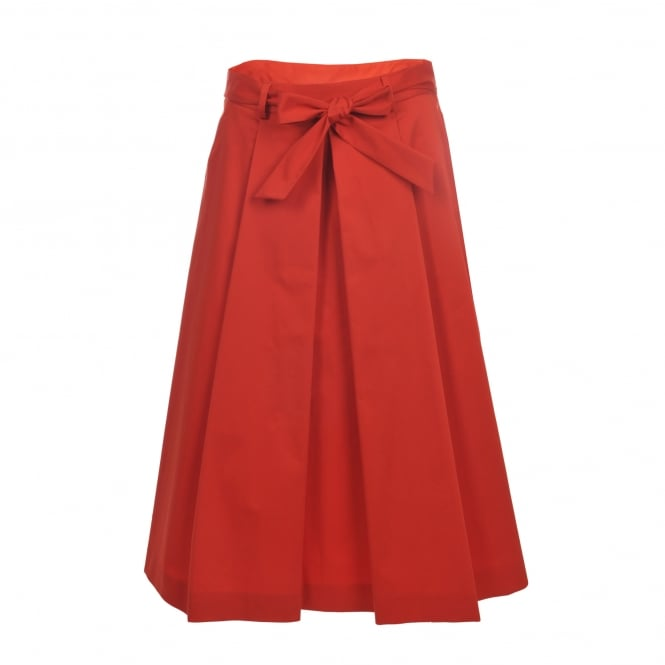 Boutique Moschino Pleat Front Red Cotton Skirt