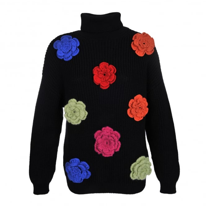 Boutique Moschino Roll Neck Sweater with Flower Embellishment