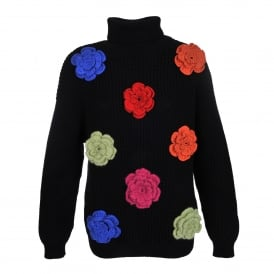 Roll Neck Sweater with Flower Embellishment