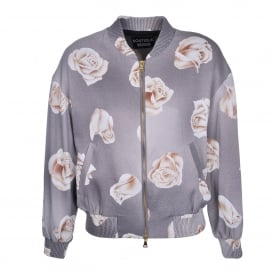 Boutique Moschino Rose Print Bomber Jacket
