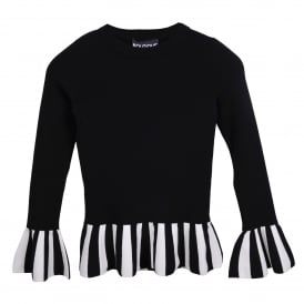 Round Neck Sweater with Ruffle and Stripe