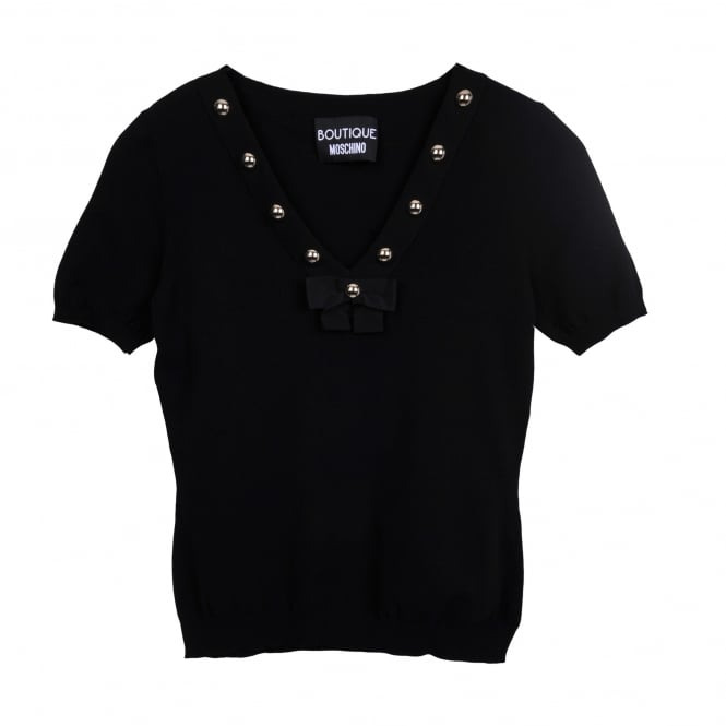 Boutique Moschino Short Sleeve Stud Detail Sweater