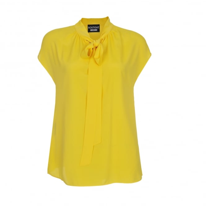 Boutique Moschino Silk Tie Neck Blouse in Yellow