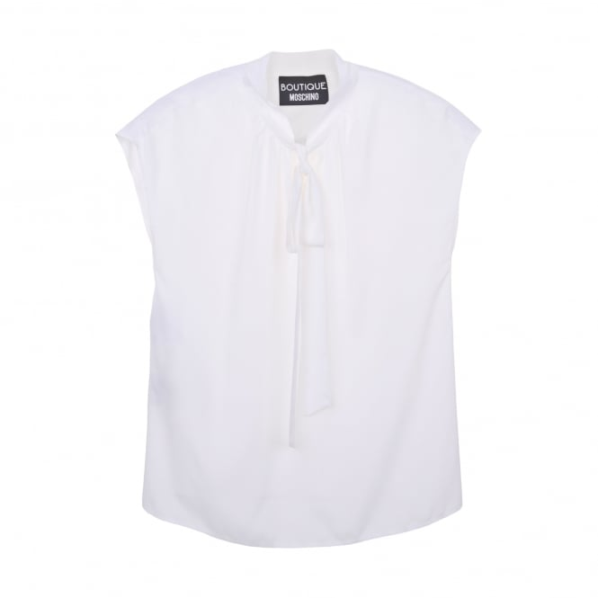 Boutique Moschino Silk Tie Neck Sleeveless Blouse in White