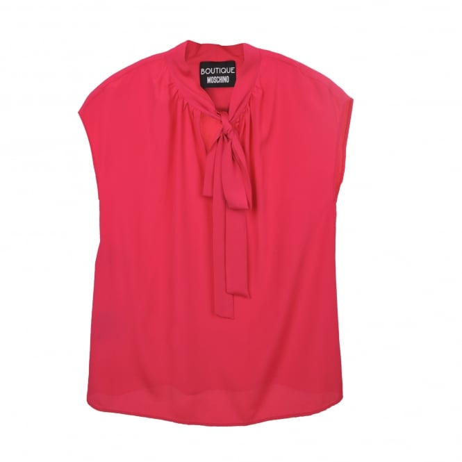 Boutique Moschino Sleeveless Tie Neck Blouse in Pink