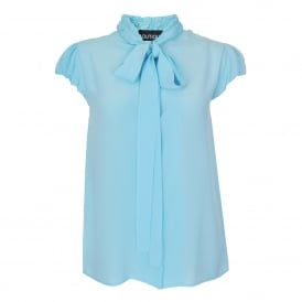 Tie & Ruffle Neck Blouse in Blue