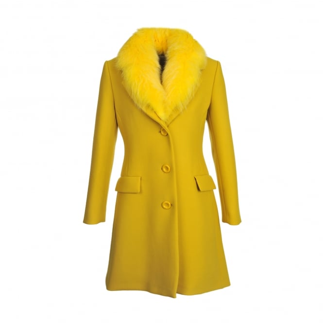 Boutique Moschino Yellow Fur Trim Coat