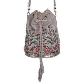 Buba London Palm Drawstring Bag in Oyster