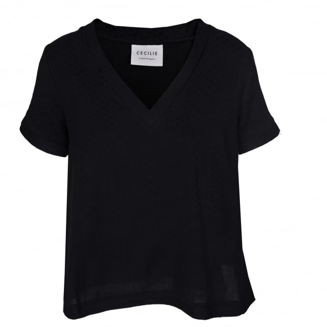 Cecilie Copenhagen Black V-Neck Top